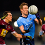 Tom Lahiff of Dublin offloads with a handpass despite the presence of Westmeath's Noel O'Reilly, left, and Noel Mulligan last Friday night. Photo: Piaras Ó Mídheach/Sportsfile
