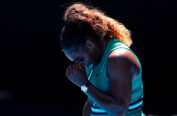 Serena Williams of the U.S. reacts during match against Czech Republic's Karolina Pliskova. REUTERS/Edgar Su