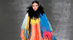 A model presents a creation by Givenchy during the 2019 Spring-Summer Haute Couture collection fashion show in Paris, on January 22, 2019. (Photo by Thomas SAMSON / AFP)