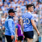 Dublin manager Jim Gavin in conversation with Diarmuid Connolly during the 2017 GAA Football All-Ireland Senior Championship Semi-Final match against Tyrone. Photo by Ramsey Cardy/Sportsfile
