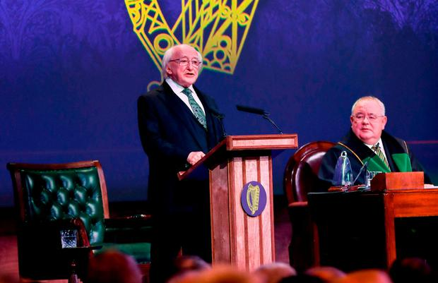 Presidential address: Michael D Higgins speaks at the commemoration of the centenary of the first meeting of Dáil Éireann. Photo: PA