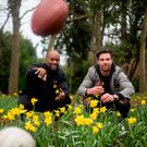 Awareness: Former NFL star Chris Draft and Dublin footballer Michael Darragh MacAuley help highlight Lung Cancer Awareness Month. Photo: Mark Condren