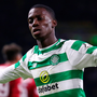 Celtic's Timothy Weah of Celtic celebrates scoring his side's fourth goal. Photo: Getty Images