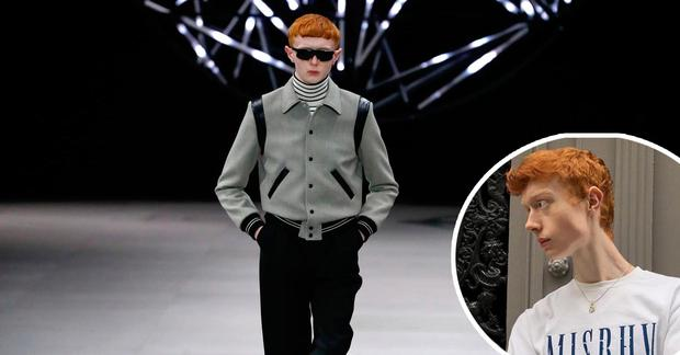 Donegal teen Ferdia Gallagher walks during the Celine show at Paris Fashion Week and inset, his modelling on Instagram
