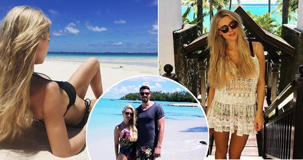 Una Healy on holidays in Mauritius, inset, with boyfriend David Breen