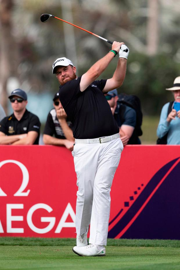 Shane Lowry of Ireland tees off on the 17th hole