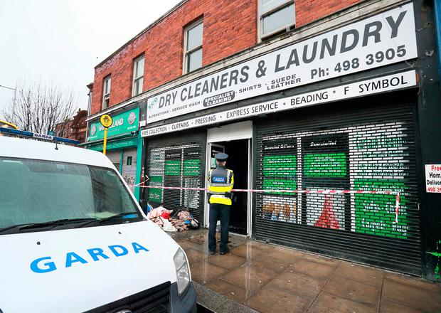 The scene of a fire at a dry cleaners on Rathmines Road . Photo: Frank McGrath