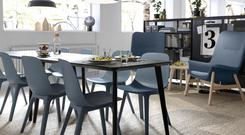 The Odger dining chair is made of renewable wood and recycled plastic