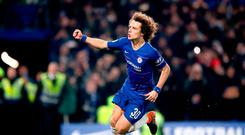 Chelsea's David Luiz celebrates scoring the winning penalty in the shootout during the Carabao Cup Semi Final, second leg match at Stamford Bridge, London. Thursday January 24, 2019. Nick Potts/PA Wire.