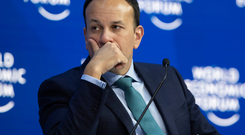 Taoiseach Leo Varadkar found himself at odds with Poland's prime minister, Mateusz Morawiecki, in Davos, yestertday. Photo: AP