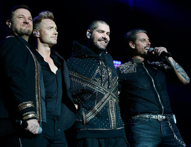 Boyzone pictured performing at the 3 Arena in Dublin this evening for the band's Thank You & Goodnight farewell tour Pic Stephen Collins/Collins Photos