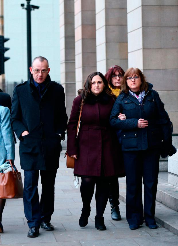 The family of Charlotte Brown, (left to right) father Graham Brown, sister Katie and mother Roz Wicken, who died following a speedboat crash on the River Thames, arrive at Portcullis House, London, to meet the Home Secretary Sajid Javid. Yui Mok/PA Wire