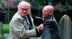 Reaction: Canadian Ambassador to Ireland Kevin Vickers wrestles with a protester (right) during a WWI ceremony in 2016. Photo: PA