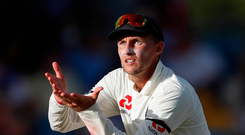 'Root at one stage resorted to flinging the ball at leg stump from round the wicket as England's enthusiasm for the contest waned, a state of affairs not helped by Holder surviving a pair of half-chances on 127 and 151.' Photo: Reuters/Paul Childs