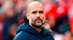'Ahead of today's FA Cup fourth-round tie against Burnley, Guardiola reiterated his claim - first made a fortnight ago - that all clubs struggle to compete once Barcelona or Real Madrid enter the market.' Martin Rickett/PA Wire.