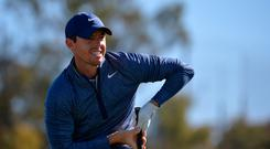 Rory McIlroy watches his shot from the 14th tee during the second round of the Farmers Insurance Open golf tournament at Torrey Pines Municipal Golf Course - North Course. Mandatory Credit: Orlando Ramirez-USA TODAY Sports