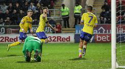 Leeds United's Mateusz Klich celebrates scoring his side's second goal during the Sky Bet Championship match between Rotherham United and Leeds United at The New York Stadium in Rotherham, England. (Photo by Andrew Kearns - CameraSport via Getty Images)