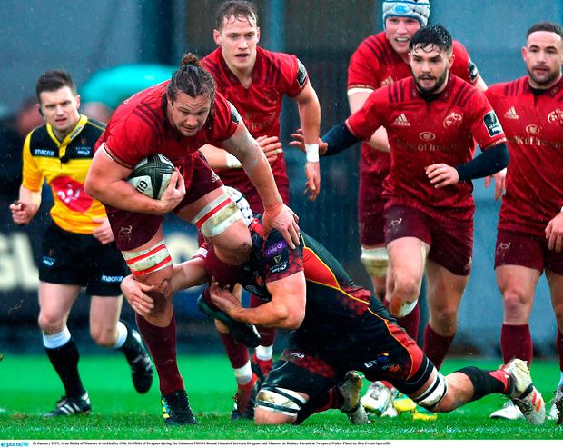 26 January 2019; Arno Botha of Munster is tackled by Ollie Griffiths of Dragons during the Guinness PRO14 Round 14 match between Dragons and Munster at Rodney Parade in Newport, Wales. Photo by Ben Evans/Sportsfile