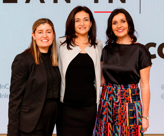 Jill Downey, Core; Sheryl Sandberg, Facebook; and Fiona Field, Mediaworks, at the Lean In event in Dublin