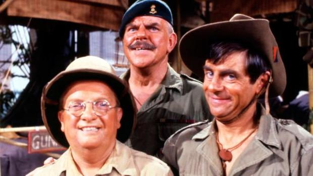 SITCOM ICON: Windsor Davies (centre), star of the long-running BBC series 'It Ain't Half Hot Mum', with Don Estelle (left) and Melvyn Hayes in 1981