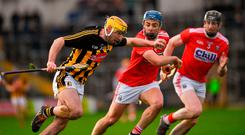 Billy Ryan of Kilkenny in action against Conor OSullivan and Damien Cahalane of Cork, right, during the Allianz Hurling League Division 1A Round 1 match between Kilkenny and Cork at Nowlan. Photo by Ray McManus/Sportsfile