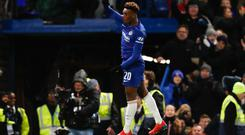 Chelsea's English midfielder Callum Hudson-Odoi celebrates scoring their second goal during the English FA Cup fourth round football match between Chelsea and Sheffield Wednesday at Stamford Bridge. (Photo by Adrian DENNIS / AFP)