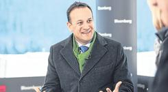 Leo Varadkar during a Bloomberg interview at the World Economic Forum in Davos. Photo: Simon Dawson/Bloomberg