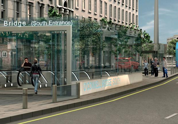 An artist's impression of how an entrance to the MetroLink might look on O'Connell Street