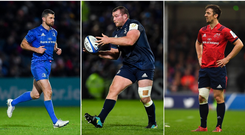 Rob Kearney (left), Jack McGrath (centre) and Darren Sweetnam (right).