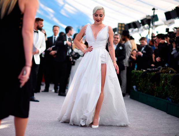 Lady Gaga walks the red carpet at the 25th Annual Screen Actors Guild Awards at the Shrine Auditorium in Los Angeles on January 27, 2019. (Photo by Robyn Beck / AFP)