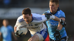27 January 2019; Conor McManus of Monaghan in action against Paul Mannion of Dublin during the Allianz Football League Division 1 Round 1 match between Monaghan and Dublin at St Tiernach's Park in Clones, Monaghan. Photo by Philip Fitzpatrick/Sportsfile