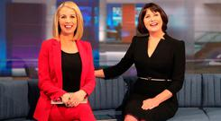 RTE News anchors, Keelin Shanley and Catrions Perry pictured in the new RTE News TV studi at RTE Donnybrook. The new studio goes into operation today. Picture Colin Keegan, Collins Dublin.