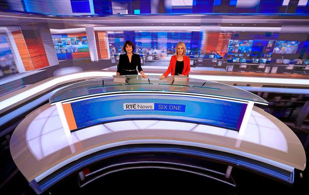 RTÉ News Presenters Keelin Shanley and Caitriona Perry in the newly refurbished RTÉ News Studio
