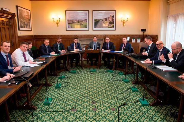 Shadow Brexit secretary Sir Keir Starmer (fifth right) meets representatives of Northern Ireland's business, farming, trade union, community and voluntary sectors at the House of Commons as they press for a Brexit deal. Photo: Stefan Rousseau/PA Wire