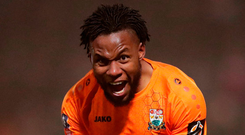 Barnet's Shaquile Coulthirst celebrates scoring his side's second goal during last night's 3-3 draw in the FA Cup fourth round match at The Hive. Photo: John Walton/PA Wire