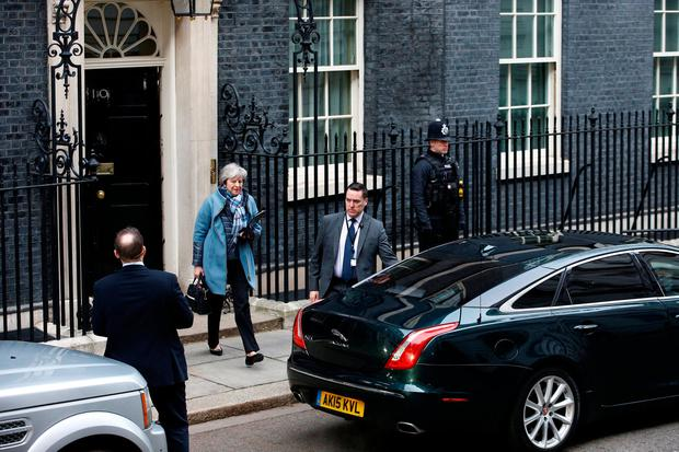 Britain's Prime Minister Theresa May leaves 10 Downing Street, as she faces a vote on her Brexit 'plan B', in London, Britain, January 29, 2019. REUTERS/Henry Nicholls
