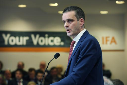 IFA President Joe Healy addresses the organisations 64th AGM at the Farm Centre in Dublin, where he said make or break decisions are imminent for our farming and food sector. Picture: Finbarr O'Rourke
