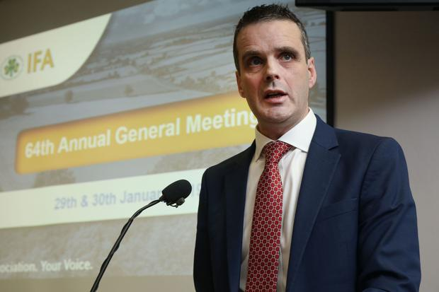 IFA President Joe Healy addresses the organisations 64th AGM at the Farm Centre in Dublin, where he said make or break decisions are imminent for our farming and food sector. Picture: Finbarr O'Rourke.