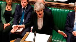 Britain's Prime Minister Theresa May speaking to members of the House of Commons in London. Photo: AFP/Getty Images