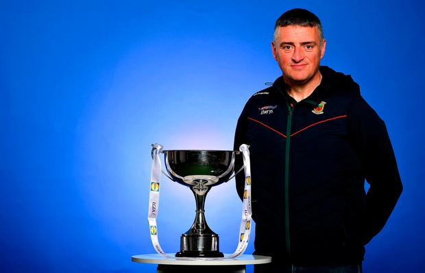 In attendance at the launch of the 2019 Lidl Ladies National Football Leagues at Croke Park, Dublin is Mayo manager Peter Leahy with the Division 1 trophy. Photo: Brendan Moran/Sportsfile