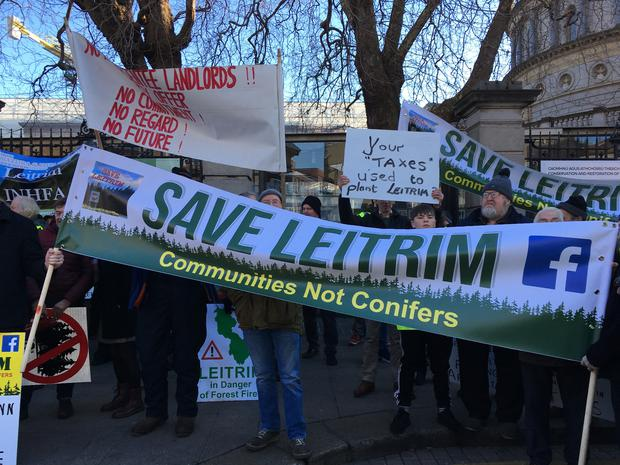 """The Save Leitrim group held a protest billed """"Communities not Conifers"""" outside Leinster House against what they claim is the Government's misguided focus on the growing of monoculture conifer plantations in Leitrim."""