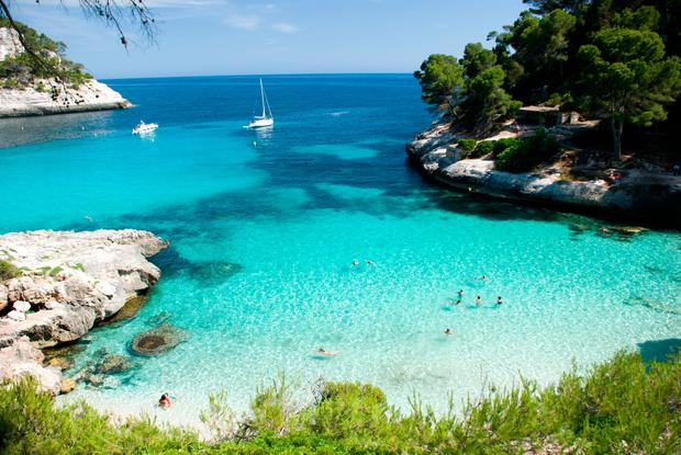 Cala Mitjana beach in Menorca, Spain