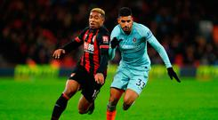 Emerson of Chelsea battles for possession with Jordon Ibe of AFC Bournemouth. Photo by Warren Little/Getty Images