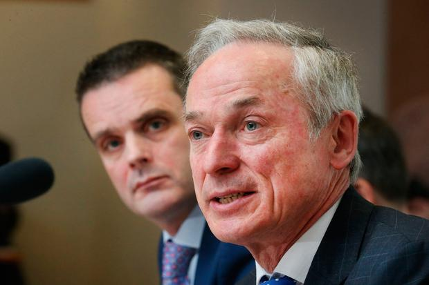 Target talk: Climate Action Minister Richard Bruton addresses the IFA AGM watched by IFA president Joe Healy. PHOTO: FINBARR O'ROURKE
