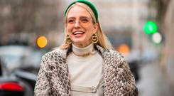 Leonie Hanne is seen wearing green Prada head band, Dior necklace, earings, turtleneck, coat with snake print outside Jean Paul Gaultier during Paris Fashion Week - Haute Couture Spring Summer 2019 on January 23, 2019 in Paris, France. (Photo by Christian Vierig/Getty Images)