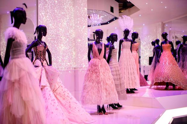 Ballroom dresses are on show at 'Christian Dior: Designer of Dreams' exhibition at the Victoria and Albert museum in London on January 30, 2019. (Photo by Tolga Akmen / various sources / AFP)