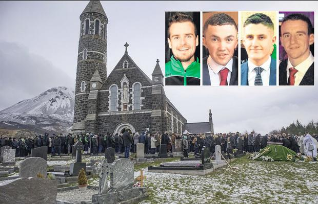 Friends: Mícheál Roarty, Shaun Harkin, Daniel Scott, and John Harley are being laid to rest today