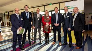 John Spink, Teagasc; Steven Kildea, Teagasc; Guy Smith, Deputy President of National Farmers Union; Fiona Thorne, Teagasc; John Cullen, Tillage Farmer; Ewen Mullins Teagasc and Andy Doyle, Irish Farmers Journal pictured the Teagasc National Tillage Conference 2019 at the Lyrath Estate Hotel in Kilkenny. Picture Dylan Vaughan.