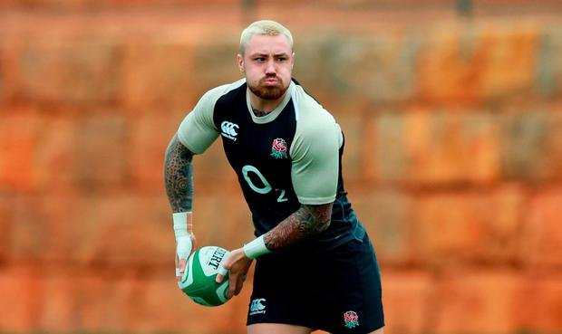 Jack Nowell passes the ball during the England media session held at Browns Sports Club on January 30, 2019 in Albufeira, Portugal. (Photo by David Rogers/Getty Images)