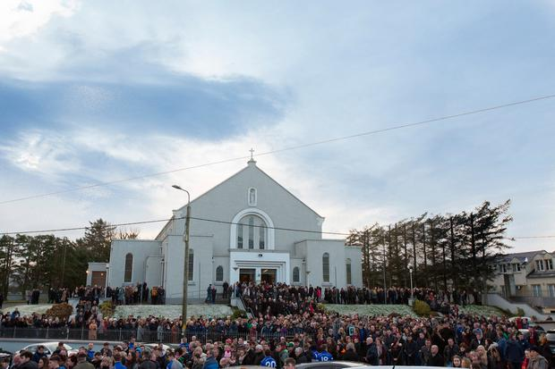 Mourners at the funeral mass of Daniel Scott at Christ the King Church, Gortahork, Donegal Pic: Mark Condren